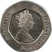 20 Pence  Elizabeth II (3e effigie, Fleurs) -  avers