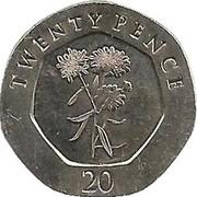20 Pence  Elizabeth II (3e effigie, Fleurs) -  revers