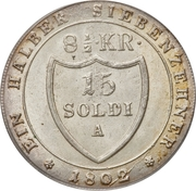 15 soldi / 8½ kreuzer Franz II – revers