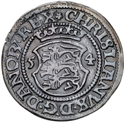 1 skilling Christian III (Copenhagen) – avers