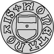 1 hvid Christian I (Visby; ram marchant à gauche avec drapeau) – avers