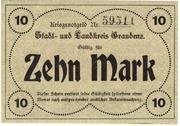 10 Mark (Stadt und Landkreis Graudenz) – revers