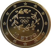 10 euros JO 2004 Handball – avers