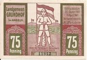 75 Pfennig (Grundhof in Angeln) – avers