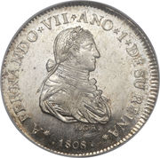2 Reales - Fernando VII (Proclamation coinage) – avers
