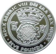 5 Pounds - Elizabeth II (Henry VIII) – revers