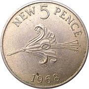 5 new pence - Elizabeth II -  revers