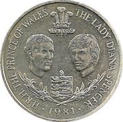 25 pence - Elizabeth II (2eme effigie; mariage royal) -  revers