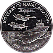 5 Pounds - Elizabeth II  - HMS Ark Royal with combat aircraft – revers