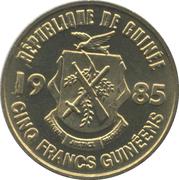 5 Francs guinéens -  avers