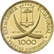 1000 Pesetas Guineanas (Coupe du monde de football Mexique 1970) – avers