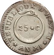 25 centimes (République de l'Ouest) – revers