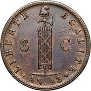 6 centimes – avers