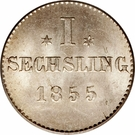 1 Sechsling (Hamburg) – revers