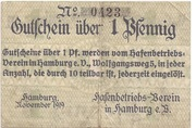 1 Pfennig  (Hamburg - Hafenbetriebsverein) – avers
