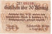 30 Pfennig  (Hamburg - Hafenbetriebsverein) – avers