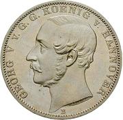1 Thaler - Georg V (50ème anniversaire de l'union de la Frise orientale au Royaume de Hanovre) – avers