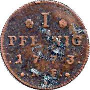 1 pfennig Ludwig IX – revers