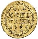 1 Kreuzer - Ludwig VIII. (gold pattern strike) – revers