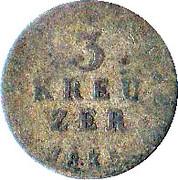 3 kreuzer Ludwig II – revers