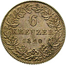 6 Kreuzer - Philipp August Friedrich – revers