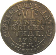 ⅙ thaler Friedrich II – revers