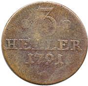 3 heller Wilhelm IX. – revers