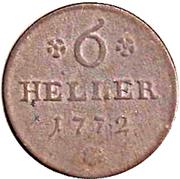 6 heller Friedrich II. – revers