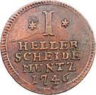 1 Heller - Friedrich I 1730 - 1751 – revers