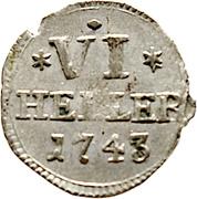 6 heller Friedrich I – revers