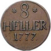 8 heller Friedrich II – revers