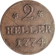 2 heller Friedrich II – revers