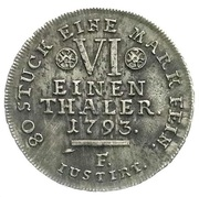 ⅙ thaler Wilhelm IX – revers