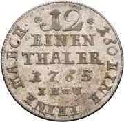 1/12 thaler Friedrich Wilhelm de Westphalie – revers
