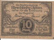 10 Pfennig (Hirschberg) -  avers