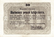 30 Krajcár - Treasury Note – avers