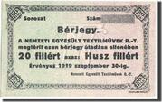 20 Fillér (Nemzeti Egyesült Textilművek Rt. – avers
