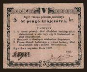 5 Pengő Krajczár (Eger) – avers