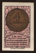 4 Fillér (Hadsegélyező Hivatal) – avers