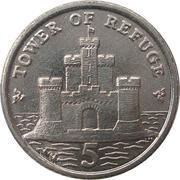 5 pence - Elizabeth II (4eme effigie) -  revers
