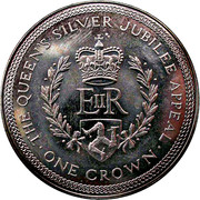 1 crown - Elizabeth II (2eme effigie; jubilé d'argent) -  revers