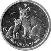 1 Crown - Elizabeth II (4th portrait; Cat) -  revers