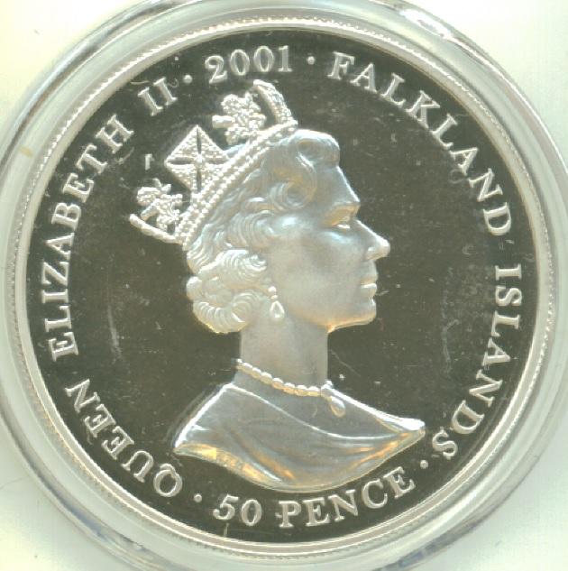 50 Pence Elizabeth Ii Charles Ii Gold Guinea îles Malouines