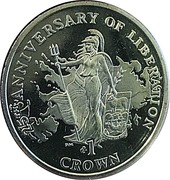 1 Crown - elizabeth II (25th Anniversary of Liberation) -  revers