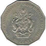 50 cents (indépendance) – revers