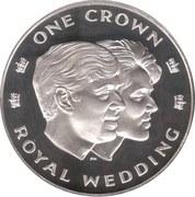 1 crown - Elizabeth II (Mariage royal) – revers