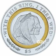 5 Dollars - Elizabeth II (Diamond Wedding) – revers