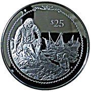 25 Dollars - Elizabeth II (Columbus seated on shore) – revers