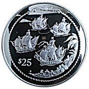 25 Dollars - Elizabeth II (Four sailing ships) – revers
