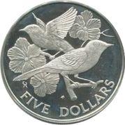 5 dollars - Elizabeth II (2ème effigie) birds and flowers – revers